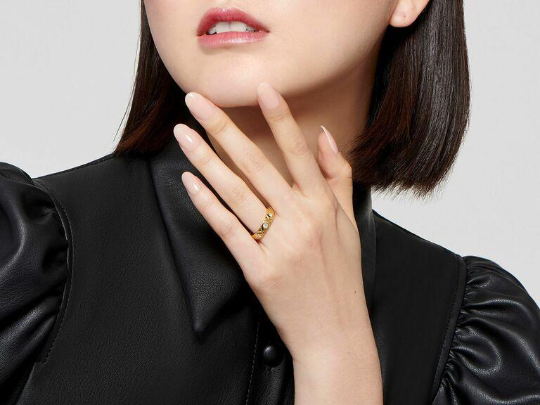 XOXO gold diamond ring