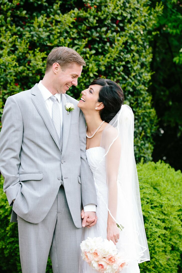 Even with only four months to plan, Carey and Jim had their dream wedding in a lush garden with soft, romantic details in their color palette of laven