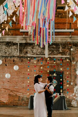 First Dance at Bright, Colorful Reception at Jam Handy in Detroit, Michigan