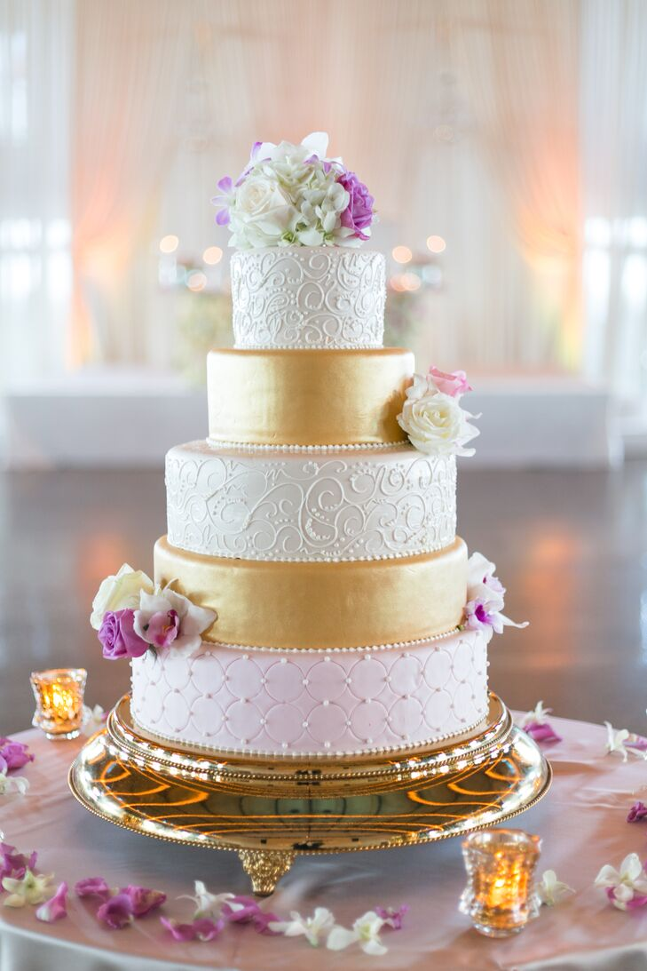 Gold Hand-Piped Wedding Cake