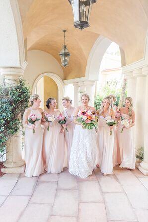 Long Pale Blush Bridesmaid Dresses
