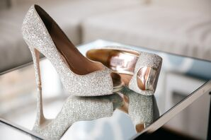 Sparkly Badgley Mischka Peep Toe Heels