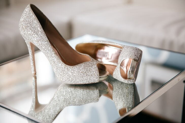 Sparkly Badgley Mischka Peep Toe Heels