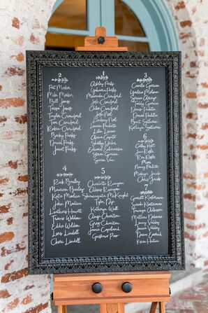 Black and White Seating Chart Display with Calligraphy