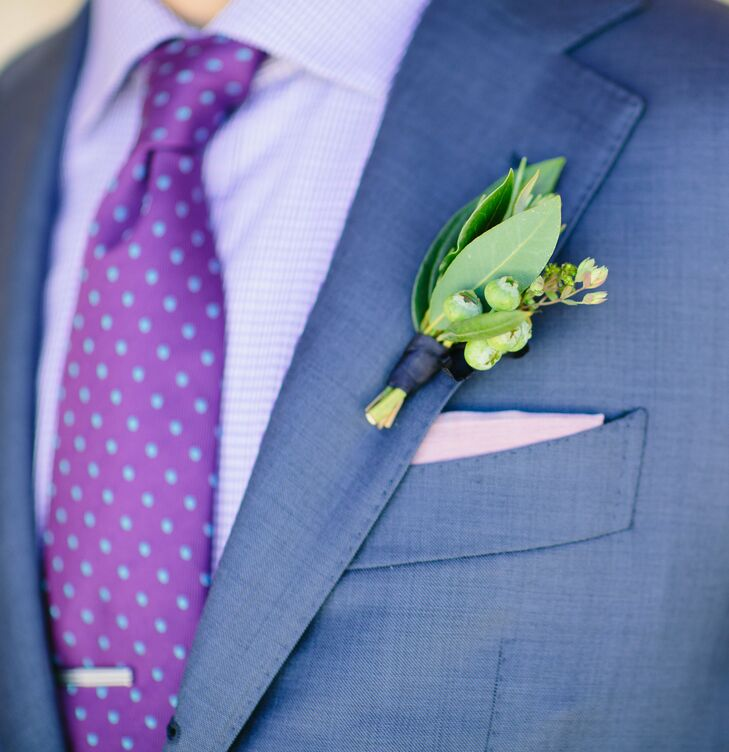 Jason wore a small bunch of fresh blueberries, thyme and bay leaves on the lapel of his custom three-piece suit.