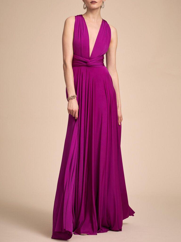 anthropologie pink convertible maxi dress