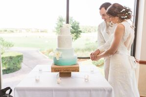 Tiered Blue and White Ombre Wedding Cake