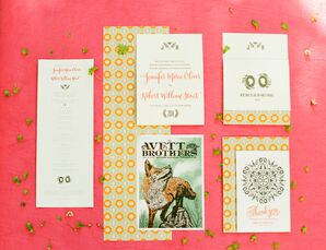 Music-Themed Modern Coral Invitation Suite