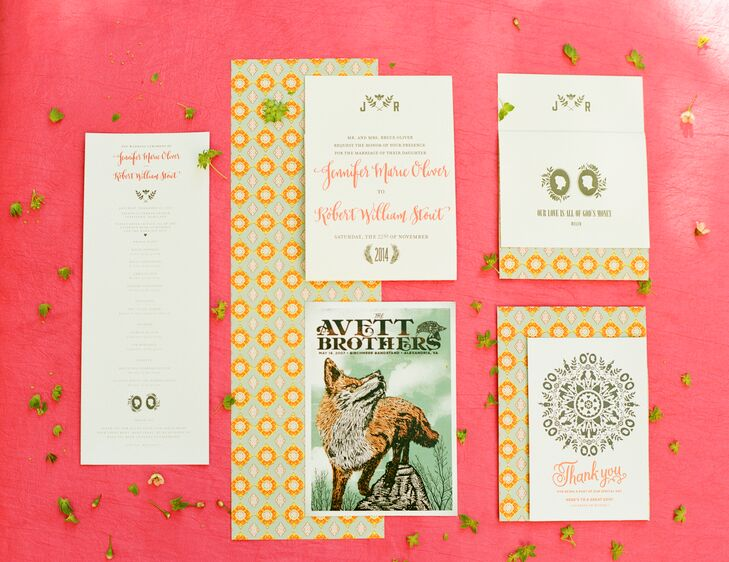 The modern coral invitations featured a graphic green and coral print. Jo and Robert also included an Avett Brothers poster in their invitation suite as a nod to their love of music.
