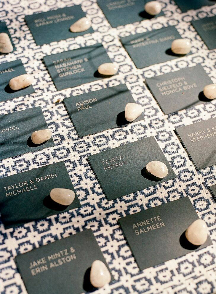 Modern Escort Cards for Wedding at Timber Cove Resort in Jenner, California