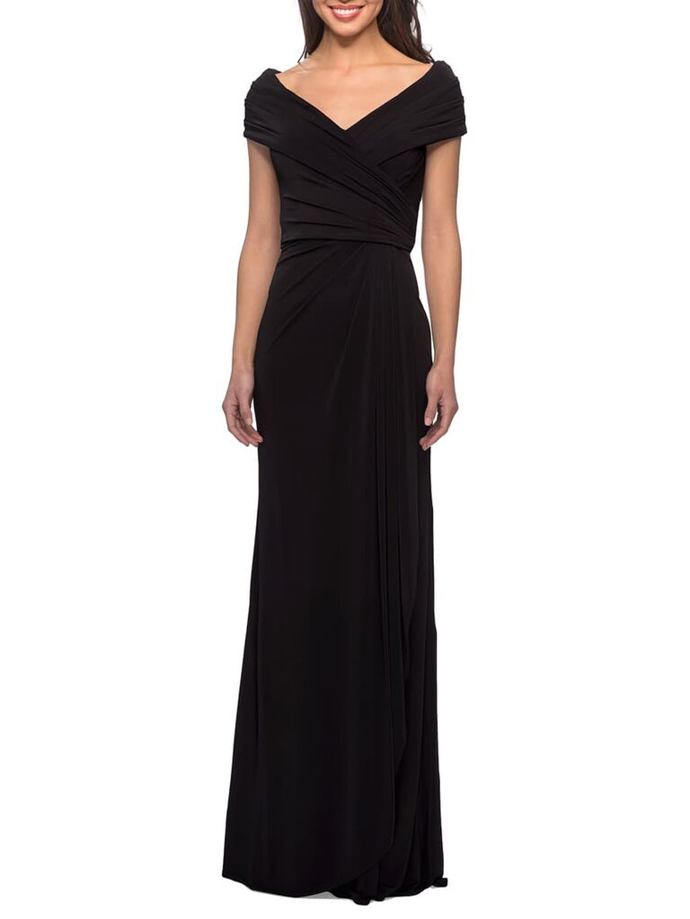 Ruched black evening gown with portrait neckline