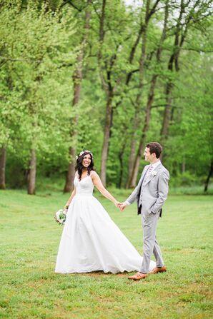 David's Bridal Cotton A-Line Wedding Dress