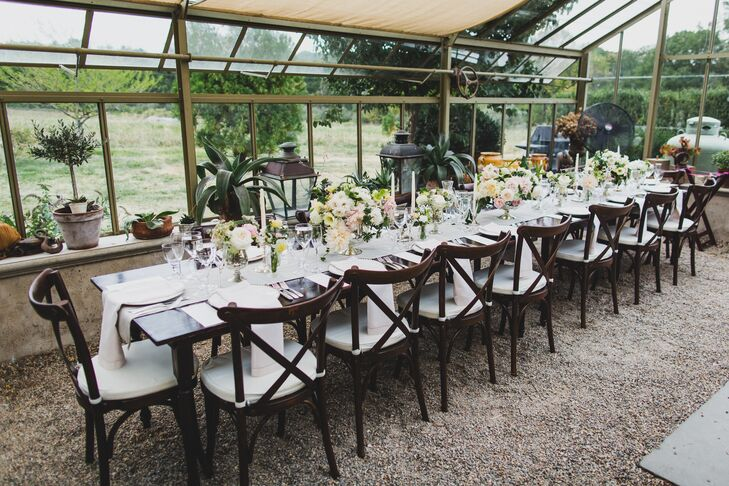 Dining Tables with Cross-Back Chairs and Lanterns