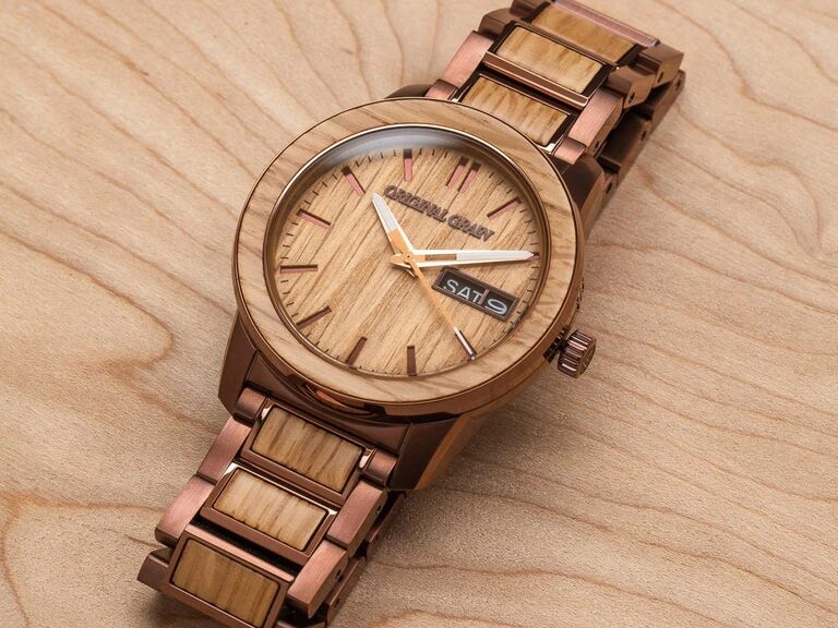 Light wood and copper-toned stainless steel watch