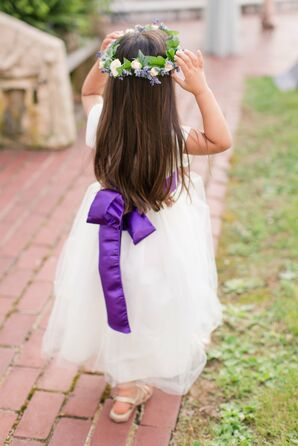 White Flower Girl Dress With Purple Sash