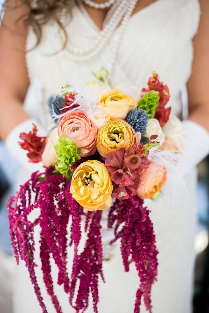 Ranunculus, Amaranthus and Scottish Thistle Bridal Bouquet