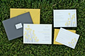 Yellow Craspedia Wedding Invitations