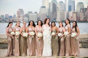Gold Sequin Badgley Mischka Bridesmaid Dresses