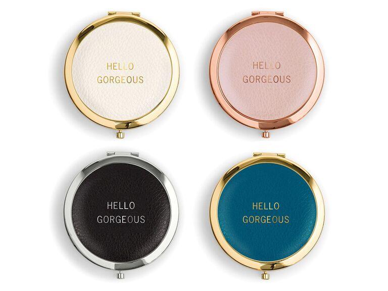 Hello Gorgeous compact mirror wedding gift for bride