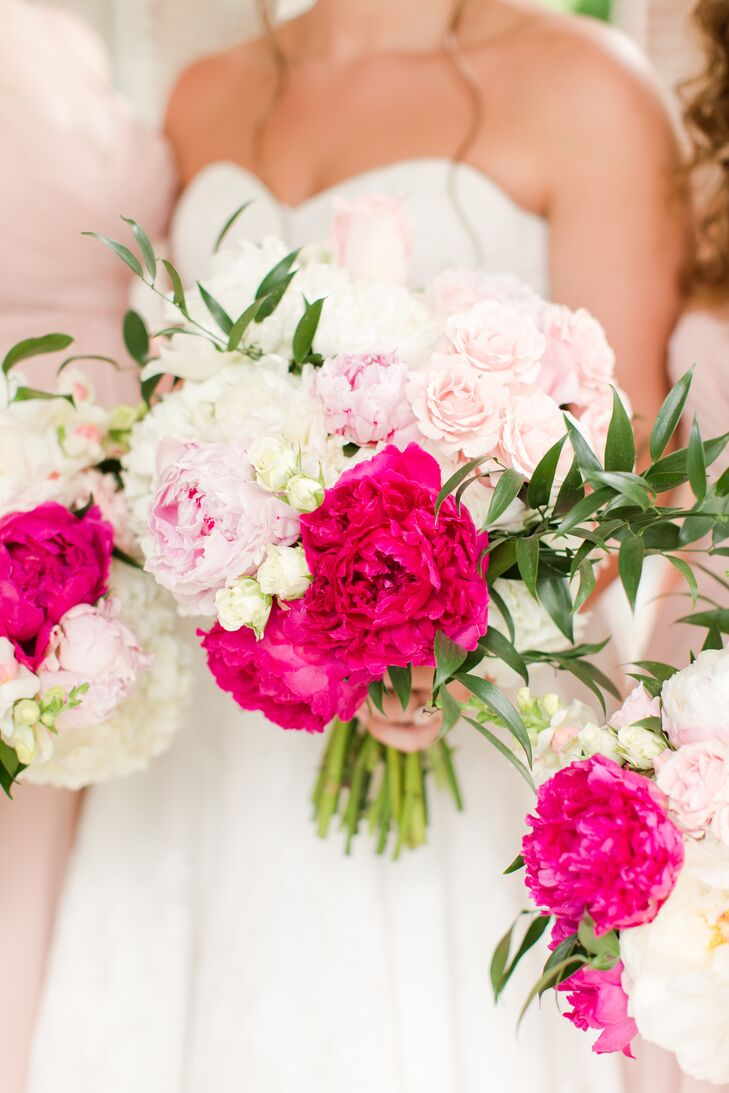 Fuchsia and Blush Peony Bouquets