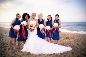 Navy Blue, Ruffled Bridesmaid Dresses