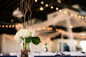 White Hydrangea Centerpieces and String Lights