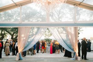 Clear Tent With Pastel Fabric Draping