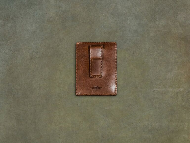 leather money clip wallet gift for father in law
