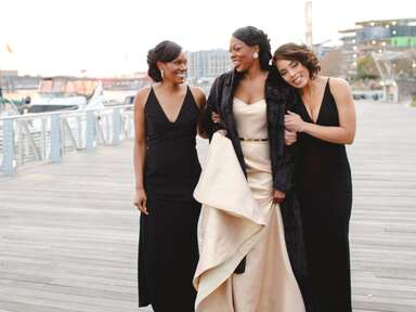 Bride with maid of honor and bridesmaid