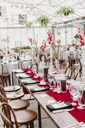 Fairmount Park Horticulture Center Wedding Reception with Black-and-Burgundy Details