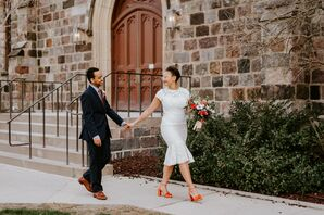 Bride with Orange Heels at a City Hall Wedding