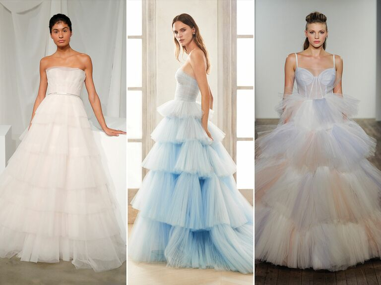 wedding dresses with tiered skirts