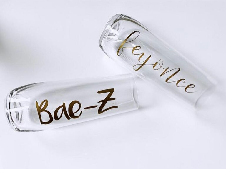 bae z and feyonce champagne flutes