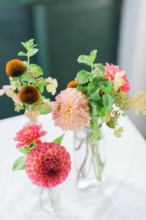 Pink Dahlia and Wildflower Centerpieces