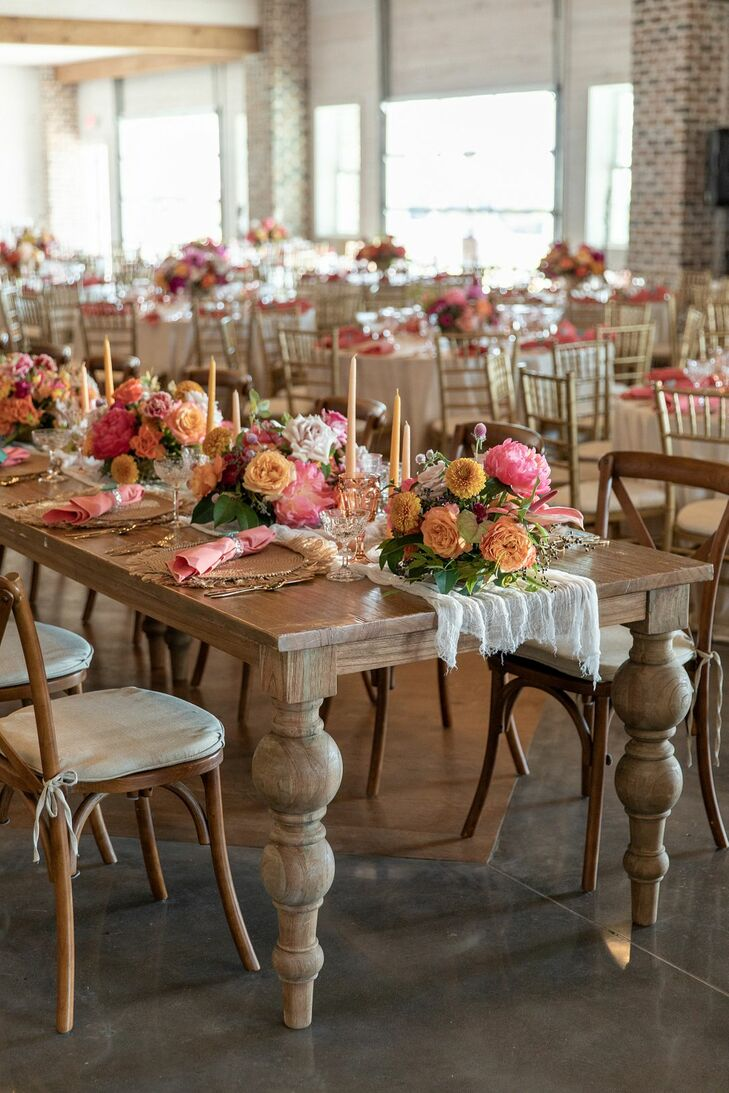 Rustic, Whimsical Farm Table with Pink Flower Centerpieces and Candles