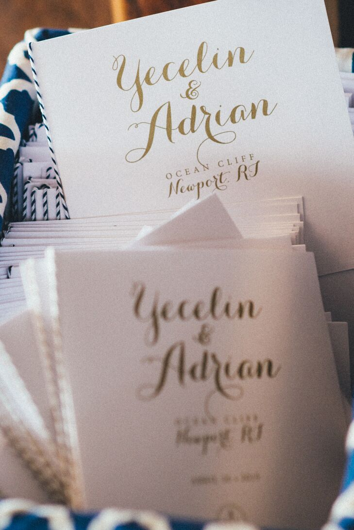 Adrian's graphic design background came in handy. After he and Yecelin decided to put their skills to work and plan the entire event themselves, Adrian began designing all the wedding's stationery, from the sailboat escort cards to the whimsical programs and even the custom box invitations (which they sent with a compass).