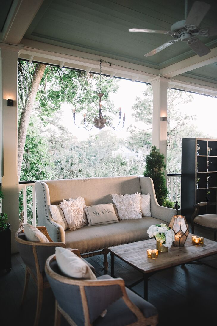 """I loved our reception because it was in a room that was surrounded by French doors that led to a massive veranda,"" Molly says of The Inn at Pinebluff in Bluffton, South Carolina. ""It had a natural flow of indoor outdoor and made it feel like one big space."""