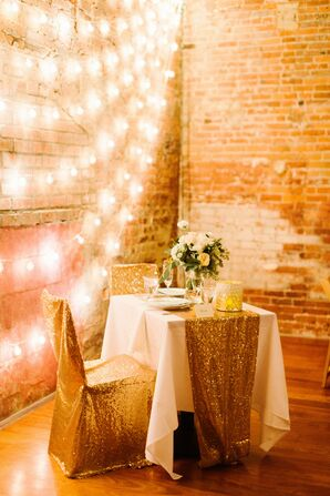 Gold Sequined Chair Covers and Table Runner