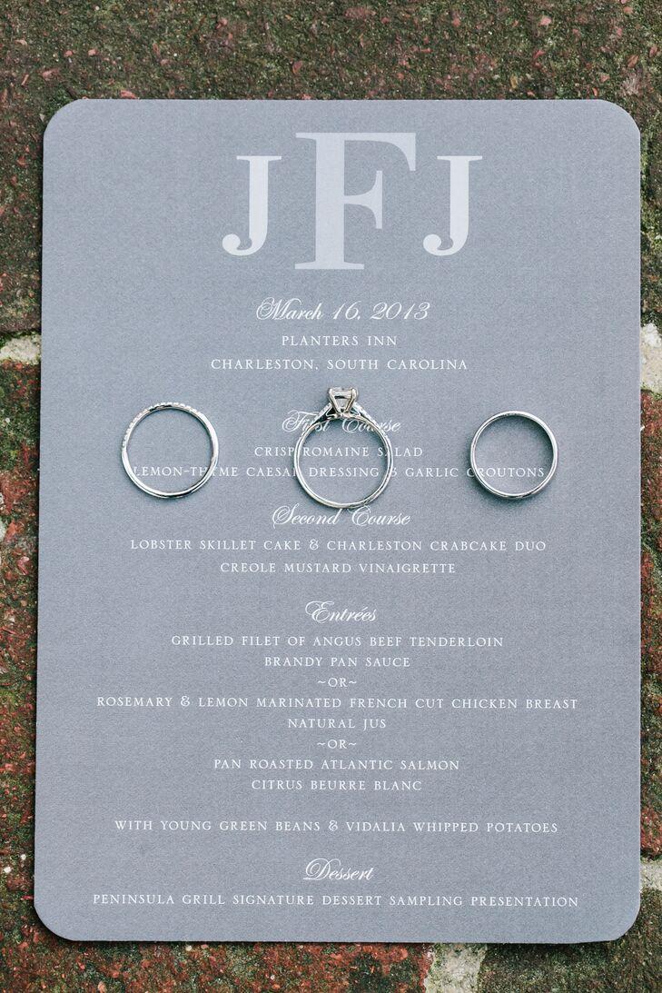 Gray Monogrammed Wedding Invitations