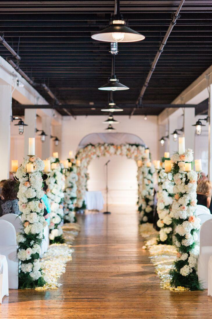 Romantic Hydrangea Aisle Pillars