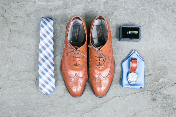 Brown Leather Oxfords and Blue Patterned Tie