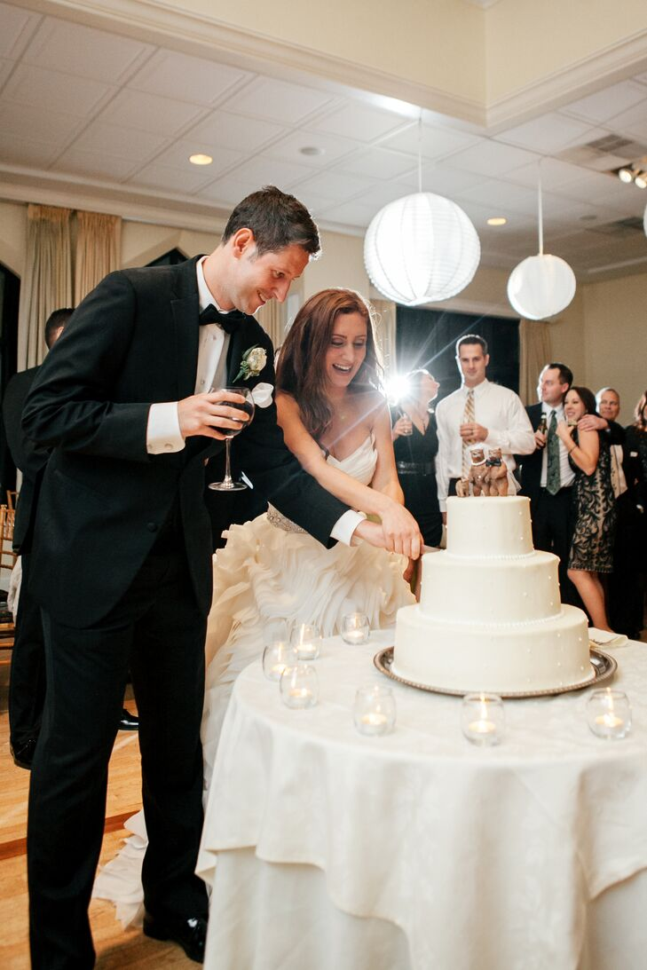 The white wedding cake was flavored carrot, which is Joelle's favorite cake flavor.