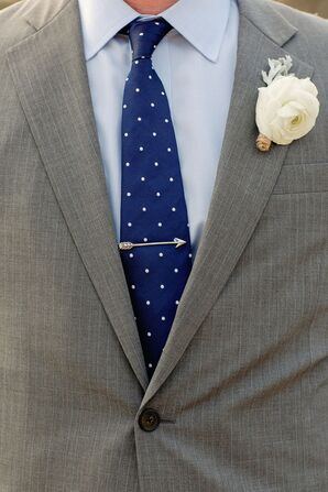 Arrow Tie Bar on Blue Spotted Tie