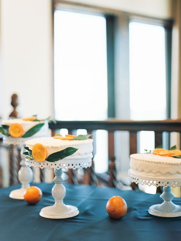 Wedding Cake Trio with Oranges for Reception at Tavares Pavilion on the Lake in Florida