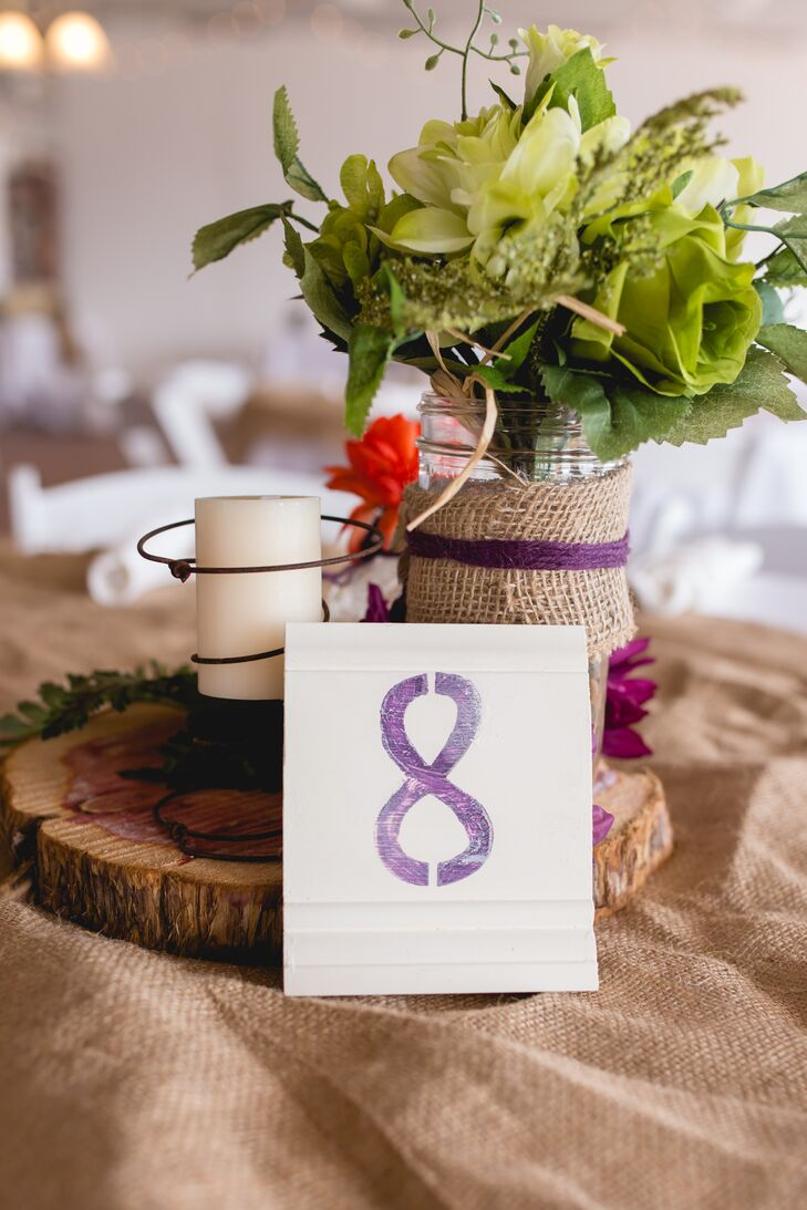 Purple Hand-Painted Table Numbers