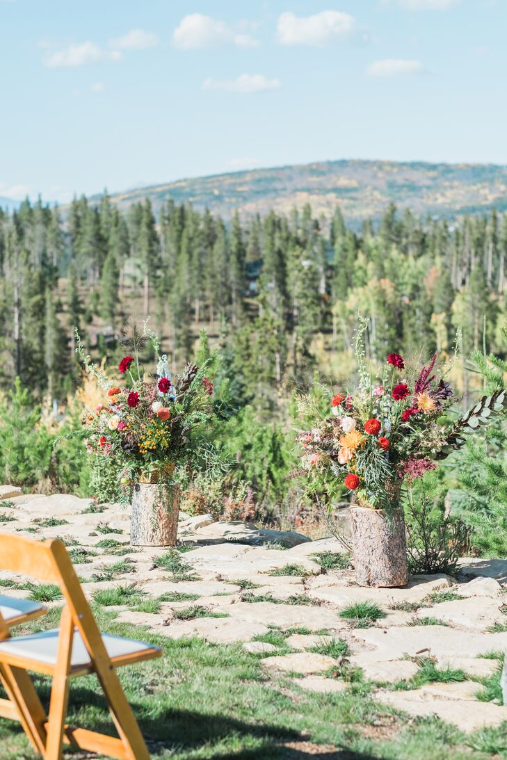 Floral Ceremony Decorations for Mountain Wedding