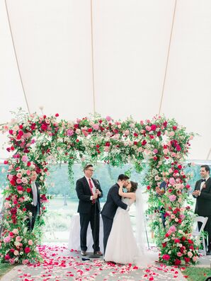 Chuppah Covered with Roses at Wedding Ceremony