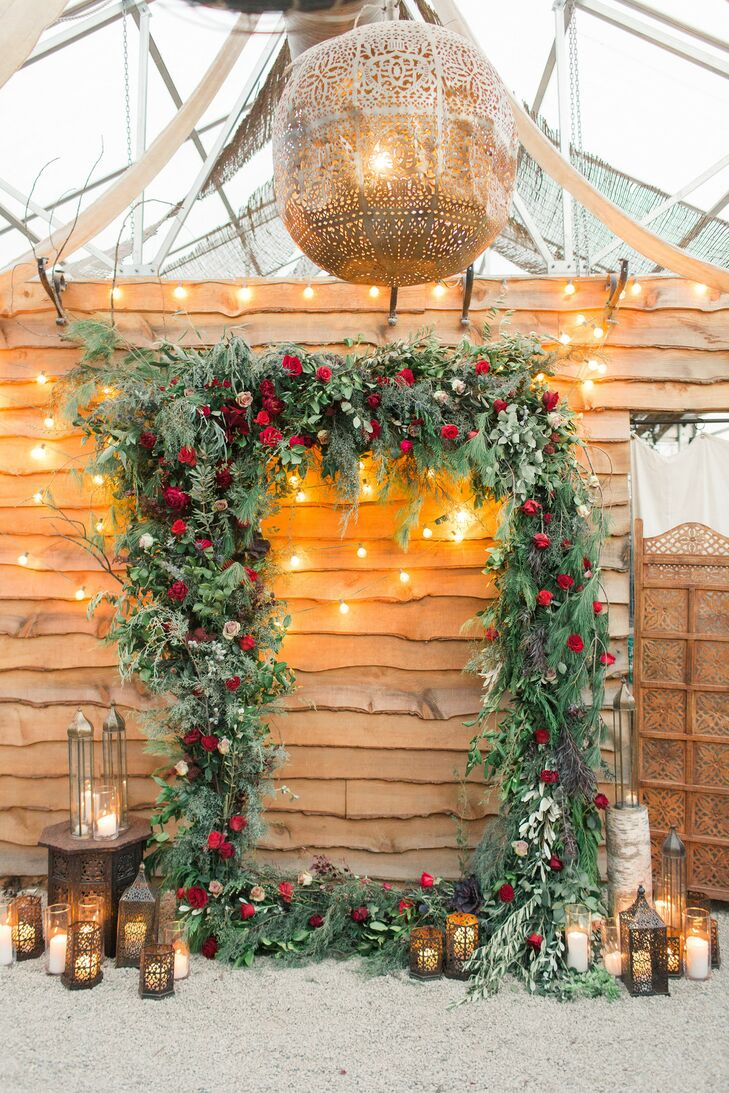 Christmas-Inspired Ceremony Arch for Wedding at Terrain at Styers in Glen Mills, Pennsylvania