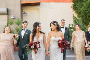 Modern Brides with White Dresses and Red Bouquets