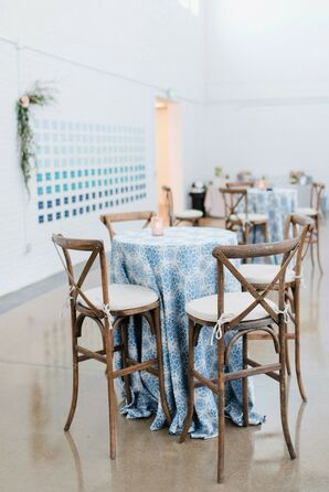 Cocktail Tables with Wood Stools and Blue Linens
